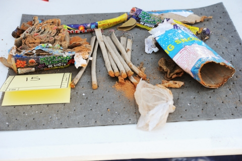 A collection of fireworks that was found inside a backpack belonging to Boston Marathon bombing suspect Dzhokhar Tsarnaev that was recovered by law enforcement agents from a landfill in New Bedford, Mass., on April 26, 2013.