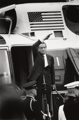 U.S. President Richard Nixon stands on the steps of the presidential helicopter after resigning the presidency, in Washington, D.C., on August 9, 1974.