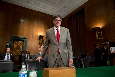 Treasury Secretary Jacob Lew arrives on Capitol Hill to testify before the Senate Banking Committee in Washington, D.C., on May 21, 2013.