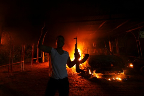A protester in front of the U.S. Consulate in Benghazi, on Sept. 11, 2012.