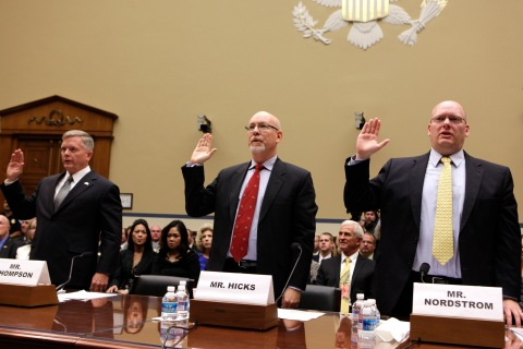 From left: Mark Thompson, Gregory Hicks, and  Eric Nordstrom are sworn in before the House Oversight and Government Reform Committee hearing on Capitol Hill in Washington D.C., on May 8, 2013.