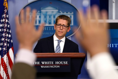 White House press secretary Jay Carney at the daily briefing at the White House in Washington, D.C., on May 20, 2013.