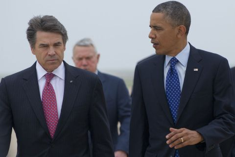 Obama Perry Texas Runway