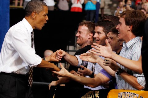 U.S. President Obama shakes hands with students at the University of Colorado at Boulder in Colorado
