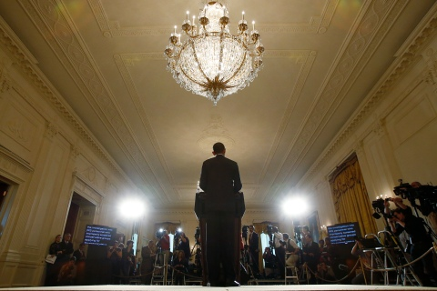 U.S. President Barack Obama delivers a statement about the Internal Revenue Service in the East Room of the White House in Washington, D.C., on May 15, 2013.