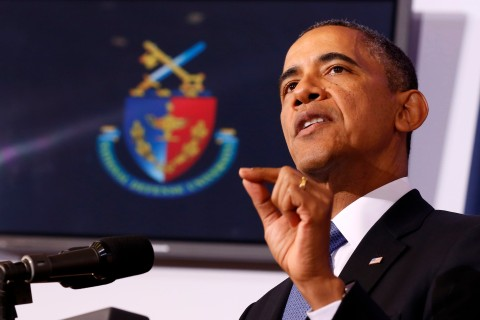 U.S. President Barack Obama makes a point at the National Defense University at Fort McNair in Washington, D.C., on May 23, 2013.
