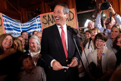 Former South Carolina Governor Mark Sanford celebrates his victory in the South Carolina first district congressional race at Liberty Tap Room in Mount Pleasant, S.C., on May 7, 2013.