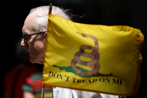 Bernie Brunner, of Springfield, Pa., holds a flag during a tea party rally protesting extra IRS scrutiny of their groups in Philadelphia.