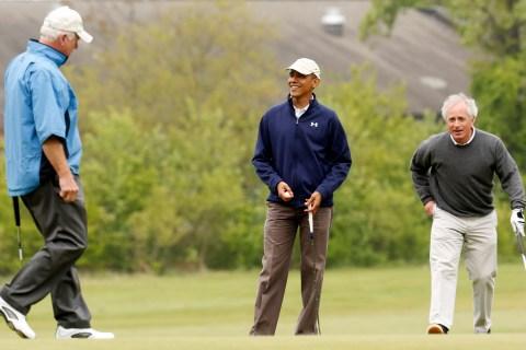 U.S. President Barack Obama plays golf with Senators Saxby Chambliss and Senator Bob Corker at Joint Base Andrews in Maryland
