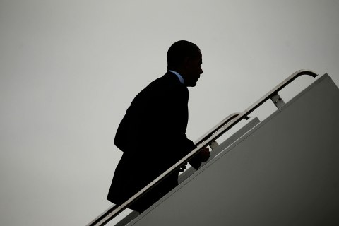 President Barack Obama boards Air Force One at Andrews Air Force Base in Prince George's County, Md., on May 9, 2013.