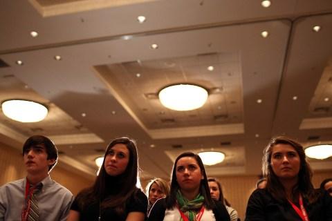 Students listen as former U.S. Sen Rick Santorum speaks at the College Convention 2012 in Concord, N.H., on Jan. 5, 2012.