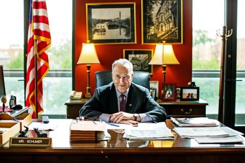 Sen Charles Schumer in his Washington DC office.