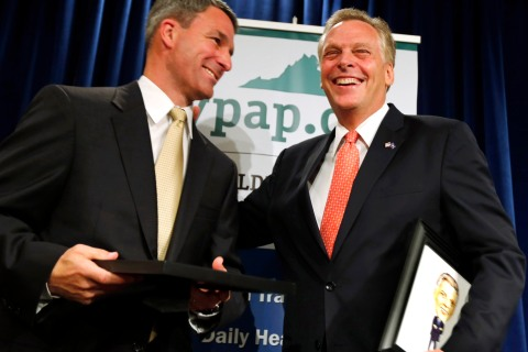 From left: Ken Cuccinelli and Terry McAuliffe at a luncheon sponsored by the Virginia Public Access Project, in Richmond, Va., on May 30, 2013.