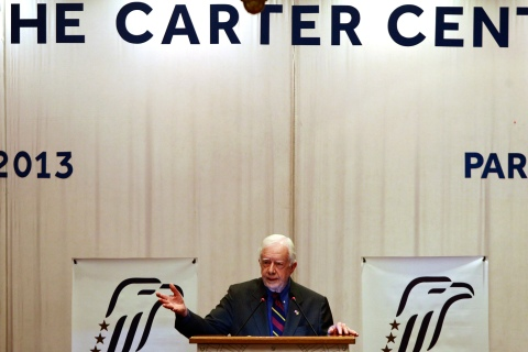 Former U.S. President Jimmy Carter delivers a speech in Yangon, Burma, on April 5, 2013.