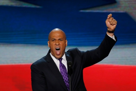 Newark Mayor Cory Booker addresses delegates during the first session of the Democratic National Convention in Charlotte