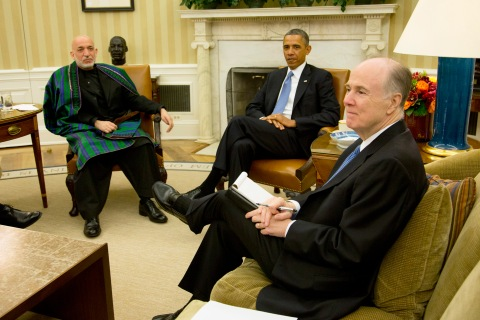 U.S. President Obama meets Afghanistan's President Karzai in Oval Office of the White House in Washington