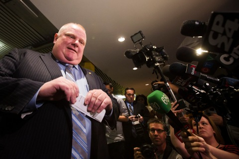 Toronto Mayor Rob Ford holds a news conference at City Hall in Toronto