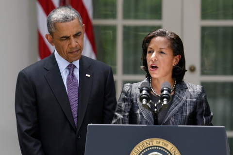 U.N. Ambassador Rice speaks next to U.S. President Obama after being named to be new national security advisor in the White House Rose Garden in Washington