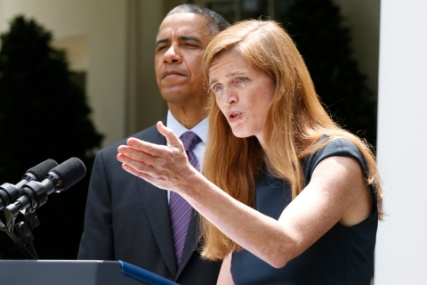 Samantha Power, nominated to be the new U.S. Ambassador to the United Nations speaks about her appointment after