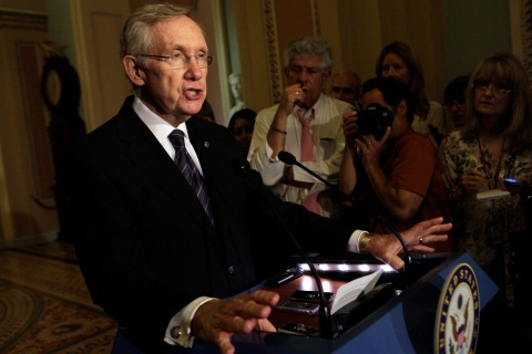 U.S. Senate Majority Leader Harry Reid (D-NV) speaks to the media about an immigration reform on Capitol Hill in Washington