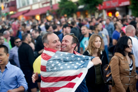 Gerling and Darrin Martin celebrate in San Franciscose of Marriage Act
