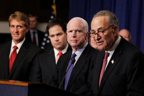 U.S. Senator Schumer, part of the U.S. Senate's Gang of Eight, speaks during a news briefing on Capitol Hill in Washington