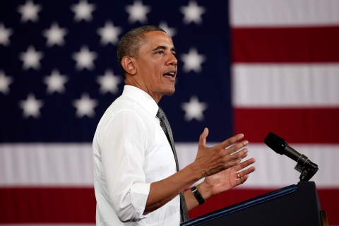 U.S. President Barack Obama speaks during a visit to Ellicott Dredges during his second 'Middle Class Jobs and Opportunity Tour' in Baltimore, on May 17, 2013.