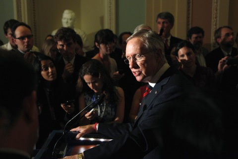 U.S. Senate Majority Leader Reid addresses reporters at the U.S. Capitol in Washington