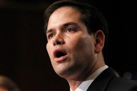 "U.S. Senator Rubio, part of the U.S. Senate's ""Gang on Eight"", speaks during news briefing on Capitol Hill in Washington"