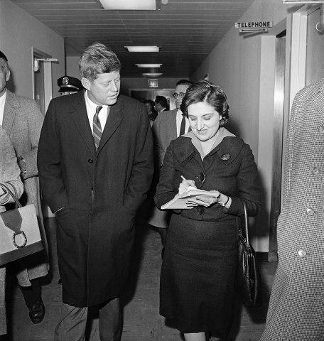 Helen Thomas interviews then President-elect John Kennedy at Georgetown University Hospital, Washington, Dec. 1, 1960.