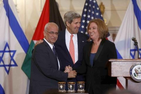 John Kerry, Saeb Erekat, Tzipi Livni