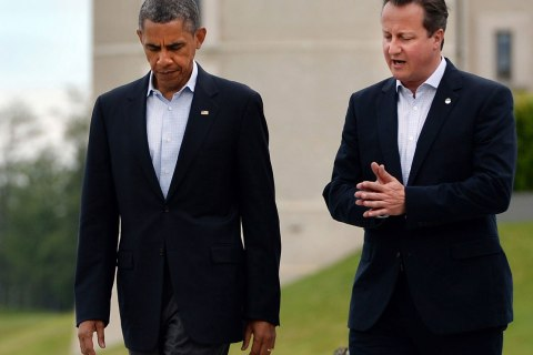 British Prime Minister David Cameron, right and US President Barack Obama at the G8 Summit in Lough Erne, Northern Ireland, Britain. Obama and Cameron in a phonecall conferred about the alleged chemical attack in Syria and possible responses.