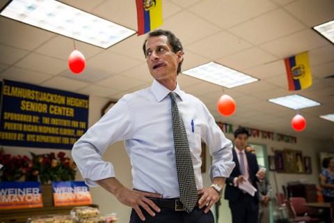 Anthony Weiner Visits Senior Center In Queens