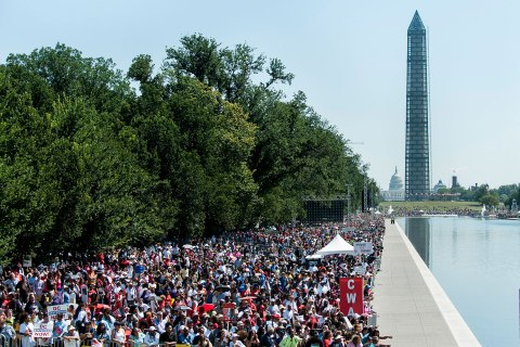 """People from across the globe arrived on the National Mall to celebrate the 50th anniversary of the March on Washington and Dr. Martin Luther King, Jr.'s """"I have a Dream"""" speech on AUG. 24, 2013 in Washington, DC."""