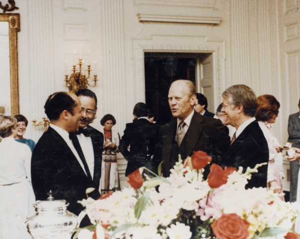"""This photo was taken from Allen's personal scrapbook where he wrote,"""" Each time that we have a change from one president to another—the thing that I find—we change, they don't change. We have to find out their likes their dislikes , and do what they want. And I find many times that some of the things that were totally wrong in one administration were right in the next administration. But that didn't bother me because the only thing I wanted to know was what they liked. As soon as we could find that out, that was the way it was done."""""""