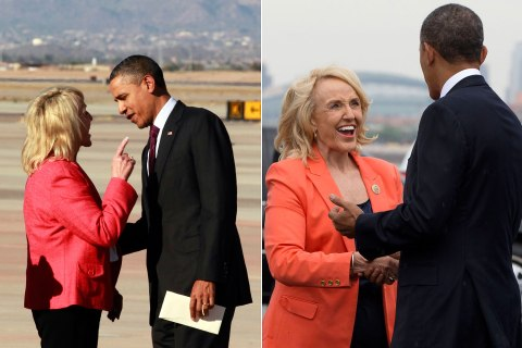 Arizona Gov. Jan Brewer greets President Barack Obama on his arrival in Phoenix, Jan. 25, 2012, left, and, Aug. 6, 2013, right.