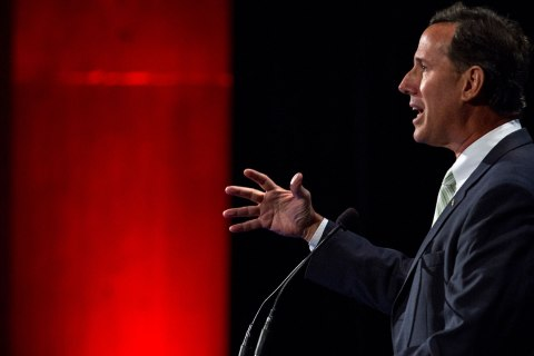 Former Sen. Rick Santorum speaks during the family leadership summit in Ames, Iowa Aug. 10, 2013.