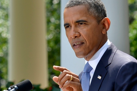 U.S. President Barack Obama makes remarks on the situation in Syria, in Washington