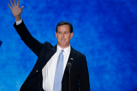 Former U.S. Republican presidential candidate Santorum waves goodbye at the end of his address during the second session of the Republican National Convention in Tampa