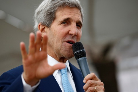 U.S. Secretary of State John Kerry meets staff at the U.S. Embassy in Islamabad