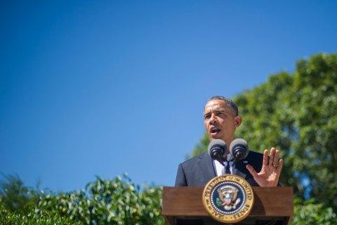 U.S. President Barack Obama makes a statement on Egypt in Chilmark, Mass., on Aug. 15, 2013.