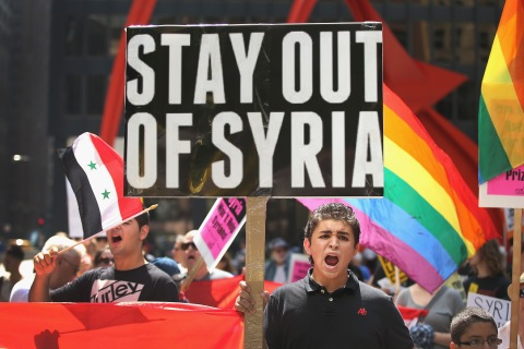 Protesters Demonstrate Against Intervention In Syria