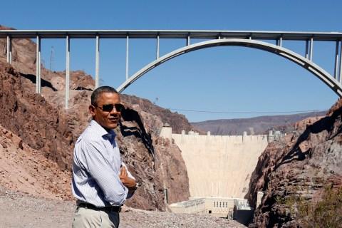 U.S. President Barack Obama visits the Hoover Dam during in Boulder City