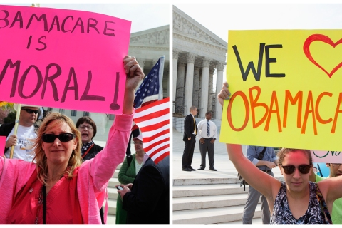 A combination file photo shows supporters and opponents of the Affordable Healthcare Act in front of the U.S. Supreme Court in Washington