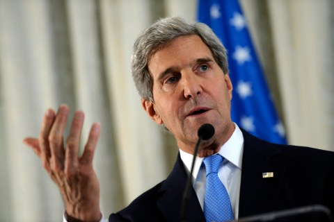 U.S. Secretary of State John Kerry answers a question during a news conference at the U.S. embassy in Paris