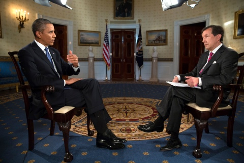 "U.S. President Obama participates in an interview with ""Fox News Sunday"" anchor Wallace in the White House in Washington"