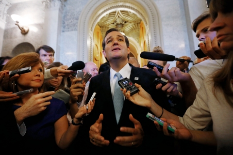 U.S. Senator Cruz leaves the Senate Chamber at the U.S. Capitol in Washington