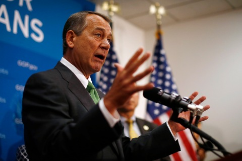 U.S. House Speaker Boehner speaks to the press after a House Republican meeting on Capitol Hill in Washington