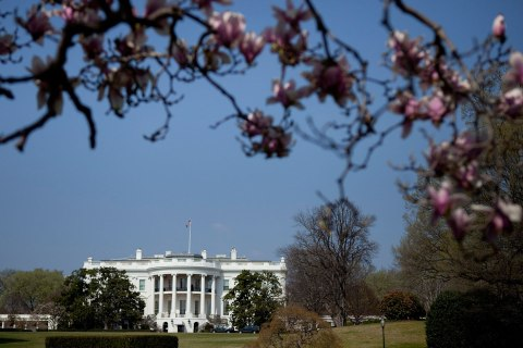 A view of the White House from the South