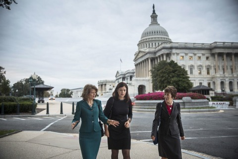 Senators Murkowski, Ayotte, center, and Collins, right, broke the logjam to open the government and avert default.